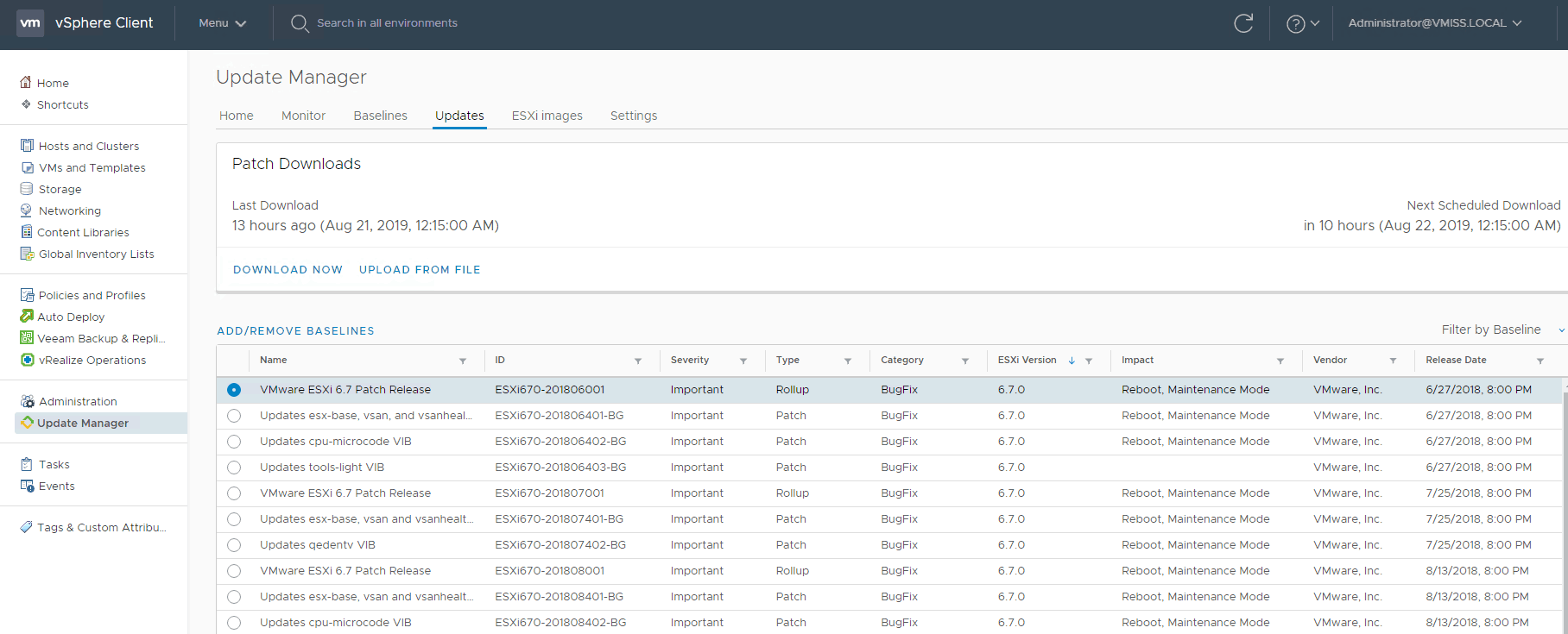Vmware patches ESXi update manager