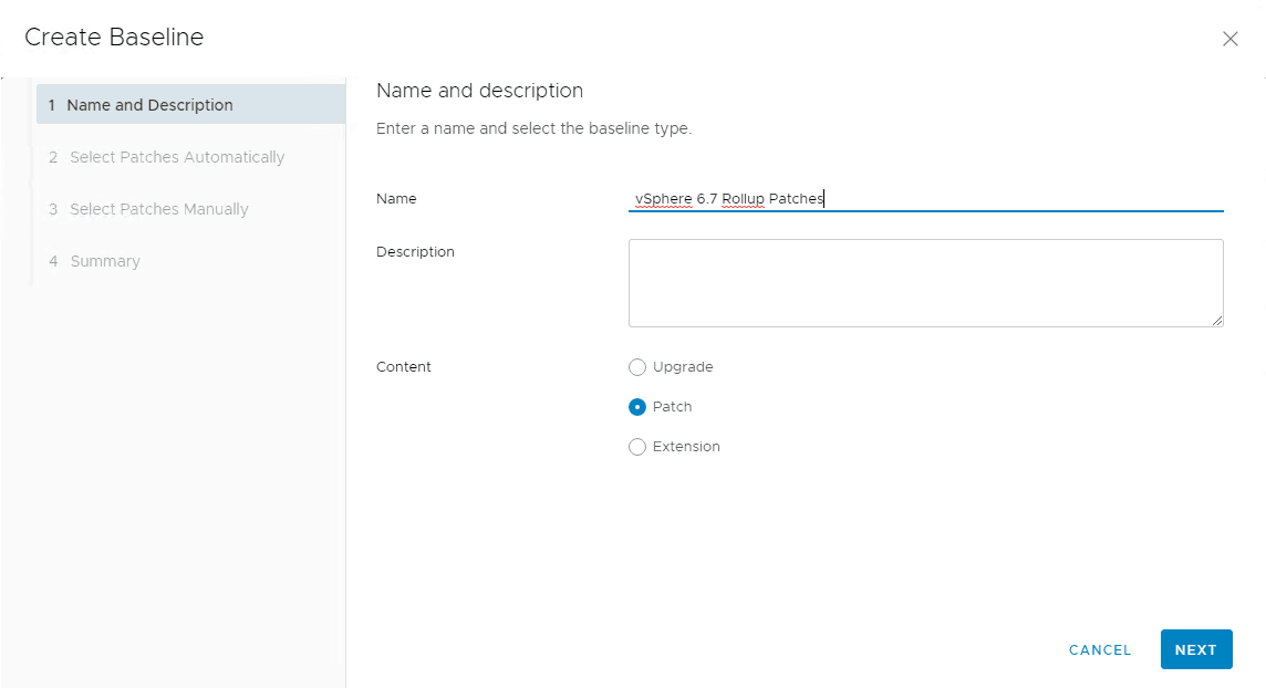 update manager rollup baseline creation