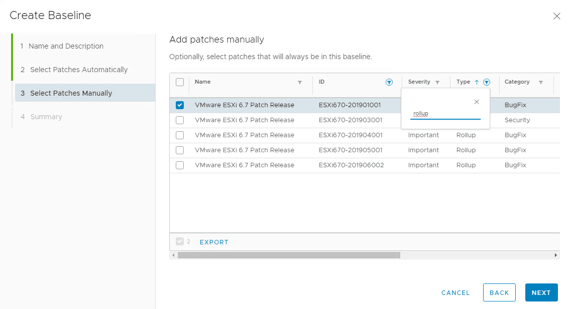 vmware patches esxi manual selection update manager