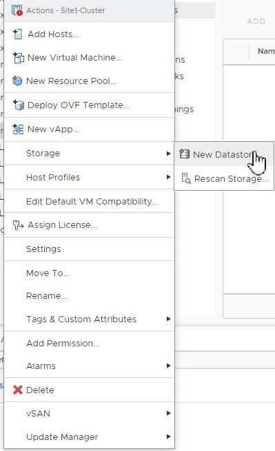 add nfs storage from vSphere client