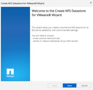 create netapp nfs datastore for vmware wizard