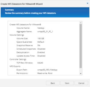 wizard summary provision netapp storage for vmware