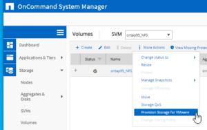 provision storage VMware vSphere NetApp ontap nfs