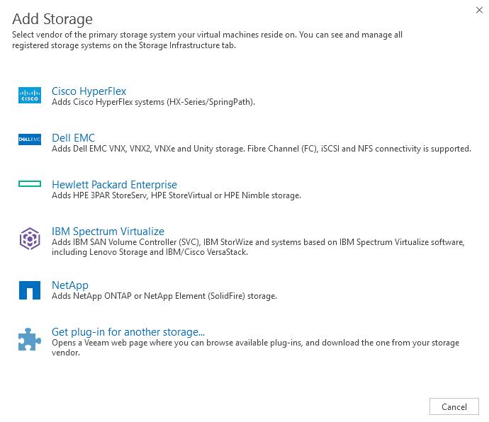 Veeam storage integration vendors