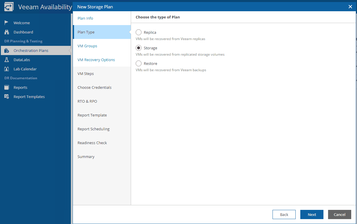 Veeam Availability orchestrator storage plan integration dr plan