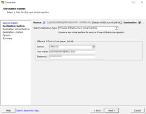 Kali Linux VMware Converter destination esxi