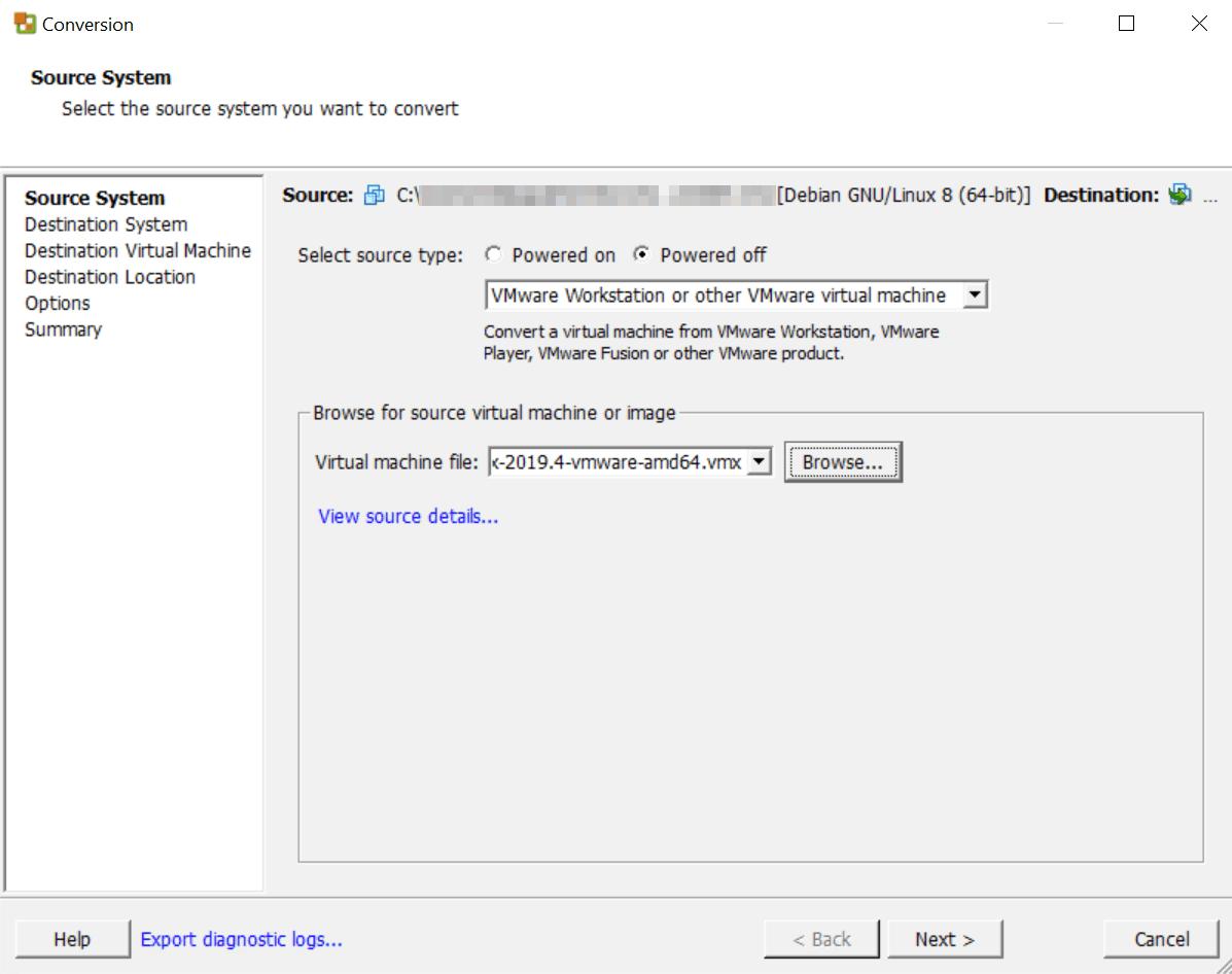 Kali Linux VMware Converter source