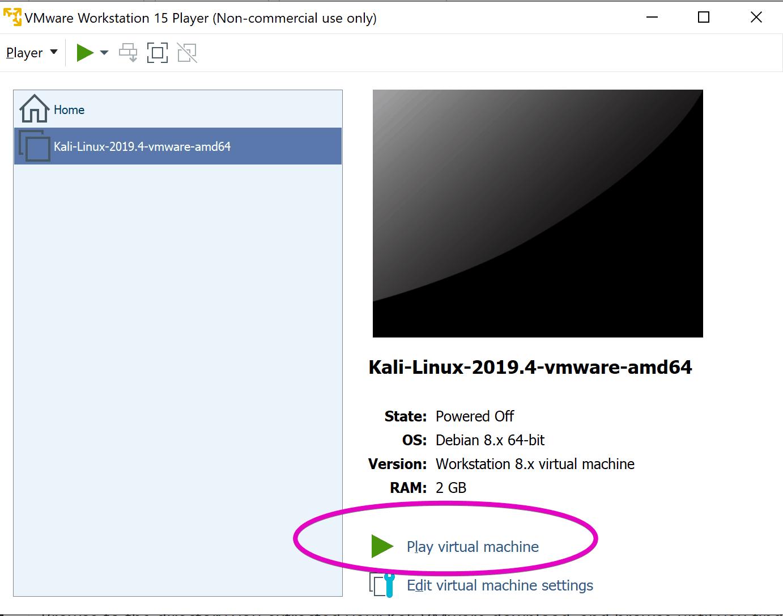 Kali Linux vmware play vm