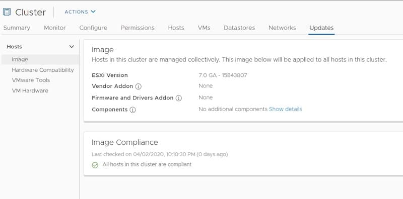 lifecycle manager cluster VMware ESXi 7 image