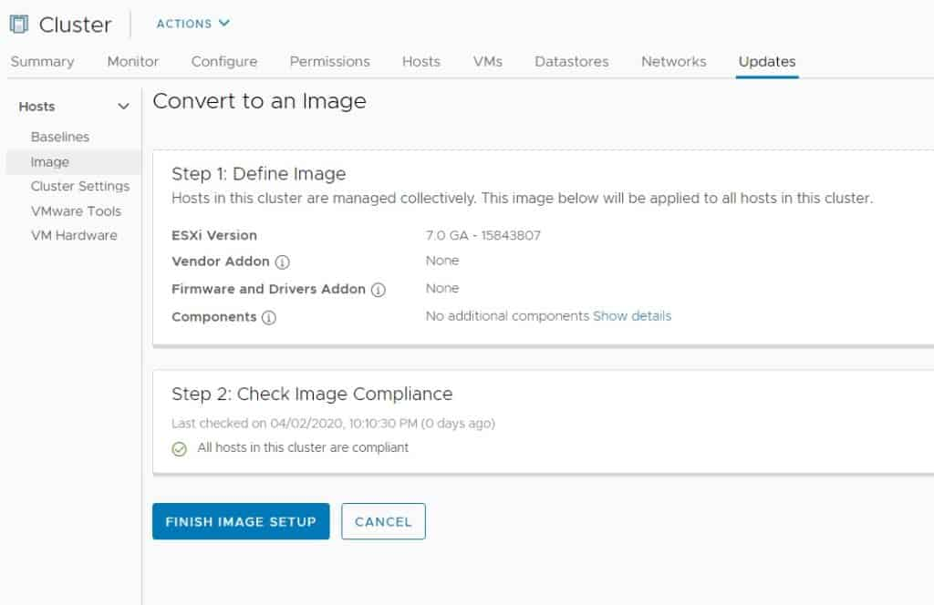 vcenter lifecycle manager custom image complaint