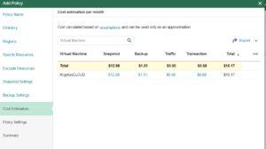 veeam azure cost estimation backup