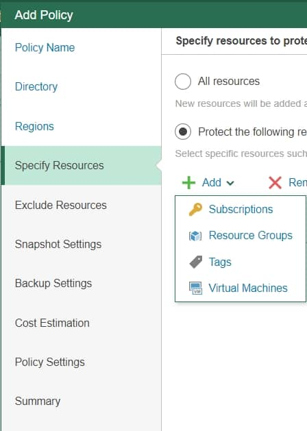 veeam backup for azure policy