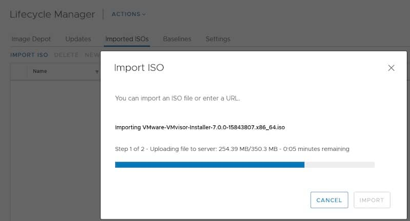 VMware lifecycle manager import iso