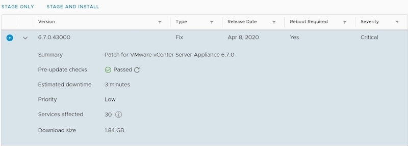 vmware vcenter patch information