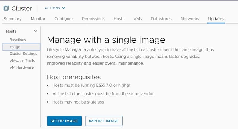 vsphere lifecycle manager cluster image