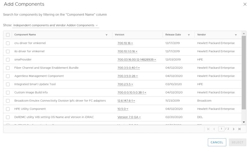 vsphere lifecycle manager add components to image