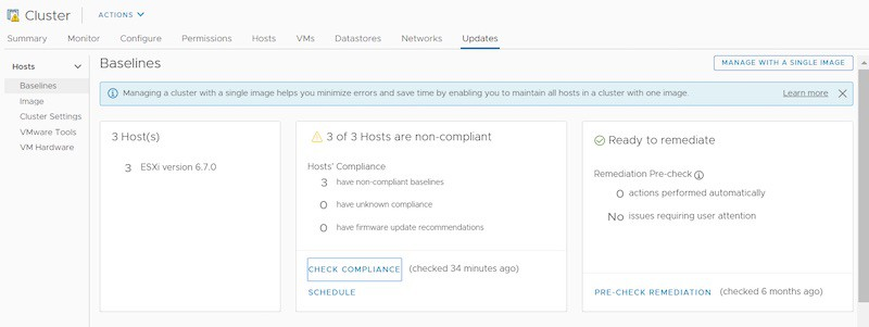 vSphere lifecycle manager ready to remediate