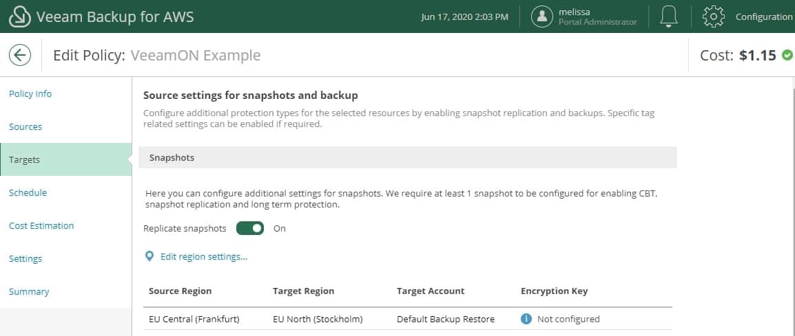 Veeam Backup aws v2 snapshot replication