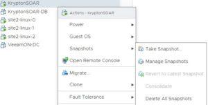 vmware snapshot menu