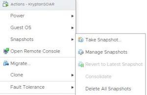 vmware snapshot menu options